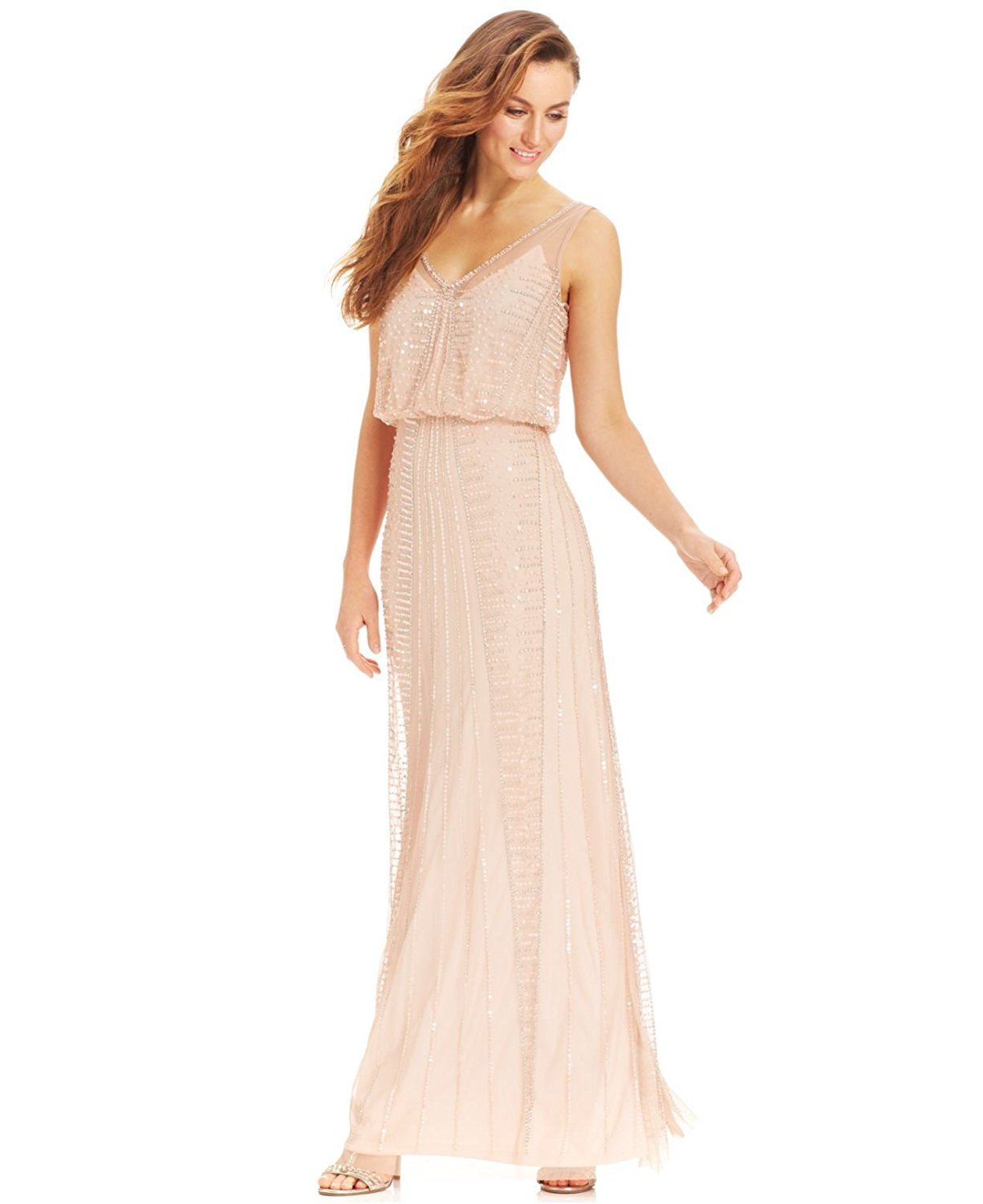 2722-2 Adrianna Papell Illusion Beaded Blouson Gown Blush 12, $299 ...