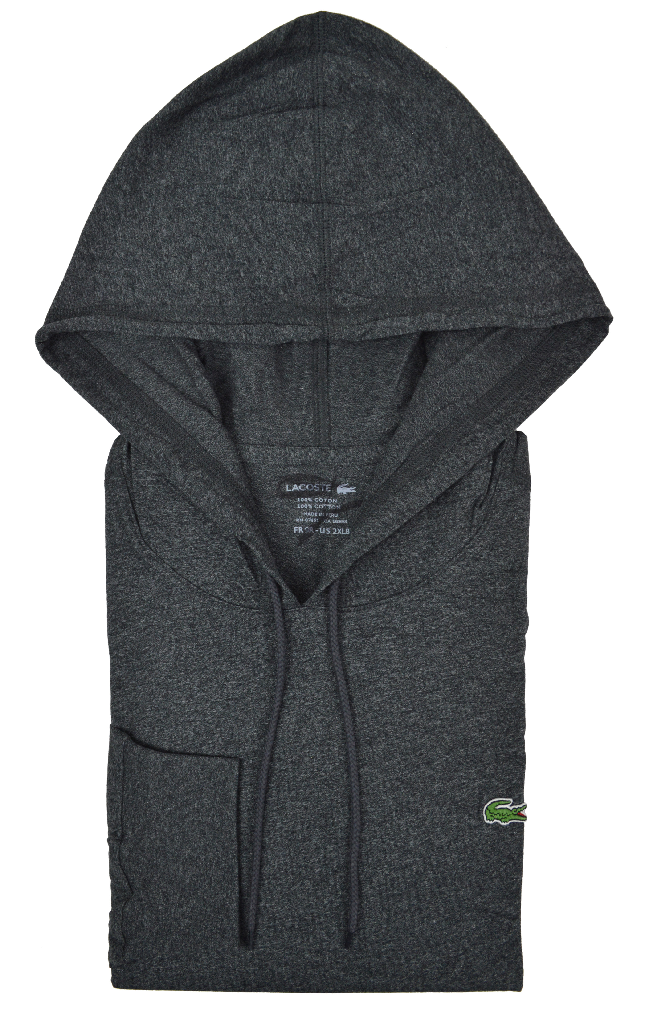 Lacoste Mens Big Tall Long Sleeve Hoodie Hoody Dark Gray 2xlb 3xlb ... ed1f372bd3